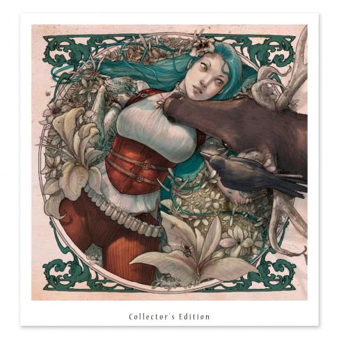 Chica tumbada y ciervo - Color