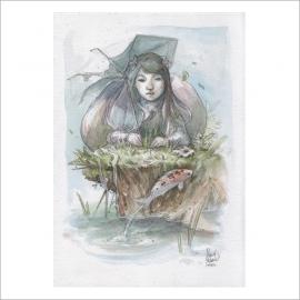 Sombrilla y carpa - Dani Alarcon's Original Painting