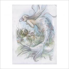 Sirena y escafandra - Dani Alarcon's Original Painting