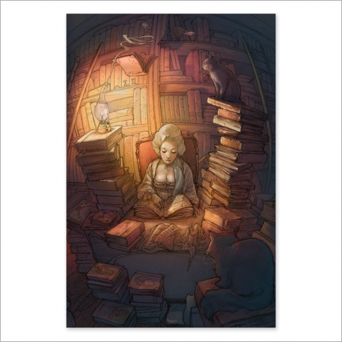 Old books and cats - Color
