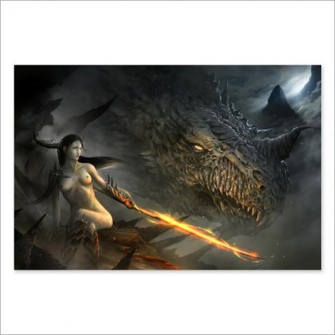 Dama y dragón