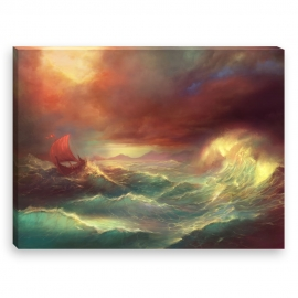 Boat in a storm (Canvas)