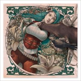 Chica tumbada y ciervo - Colour