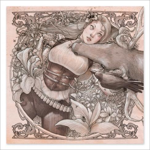 Chica tumbada y ciervo - Drawing