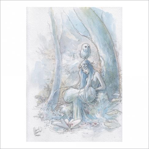 Chica y búho - Dani Alarcon's Original Painting