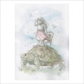 Niña y tortuga - Dani Alarcon's Original Painting