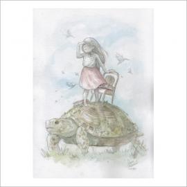 Niña y tortuga - Original de Dani Alarcón