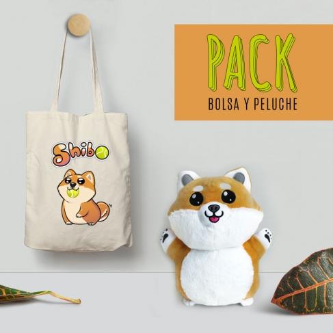 Pack bolsa y peluche shibo