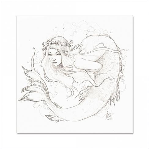 Pencil mermaid I - Original Painting by Daniel Alarcón