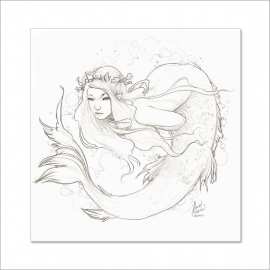 Pencil mermaid I - Original Painting by Daniel Alarcón