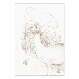 Pencil mermaid III - Original Painting by Daniel Alarcón