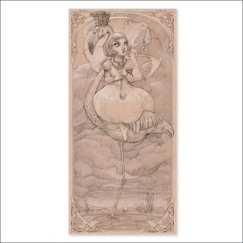Flamingo, drawing (Poster)