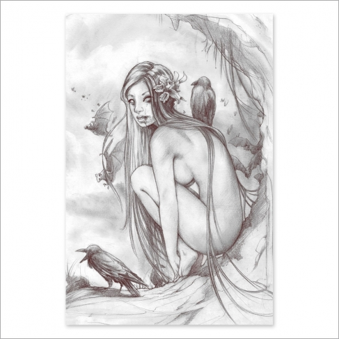 Lost dark princess nude - pencil drawing (Poster)