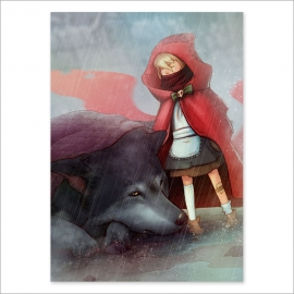 Little Red Riding Hood with wolf and blanket (Poster)