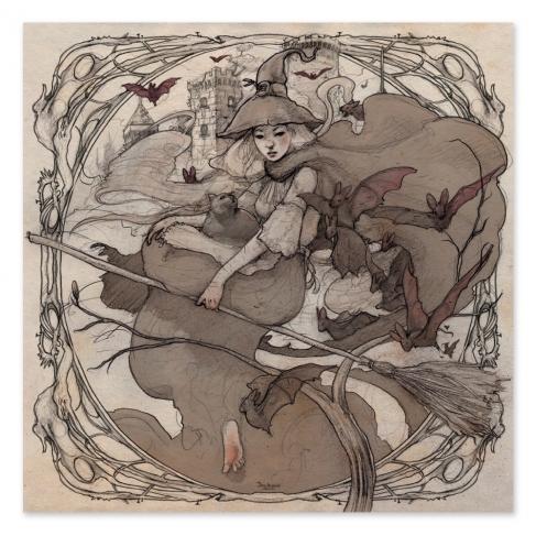 Bruja halloween - Dibujo