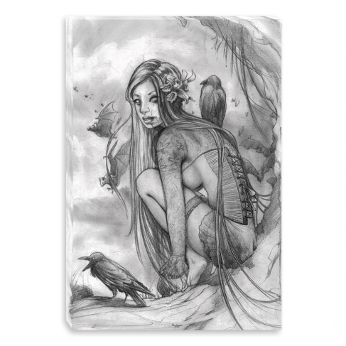 Lost dark princess - pencil drawing (Canvas)