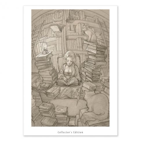 Old books and cats drawing (Collector sheet)