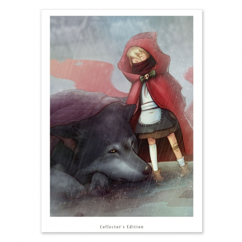 Little Red Riding Hood with wolf and blanket (Collector sheet)