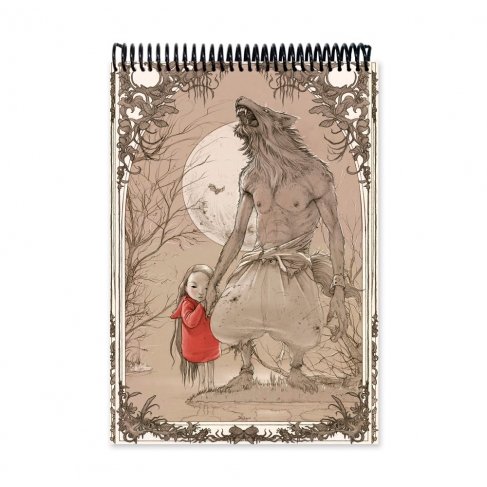 Hombre lobo y niña - Dibujo