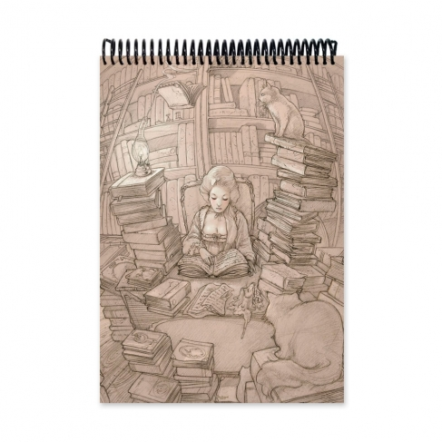 Old books and cats drawing (Notebook)